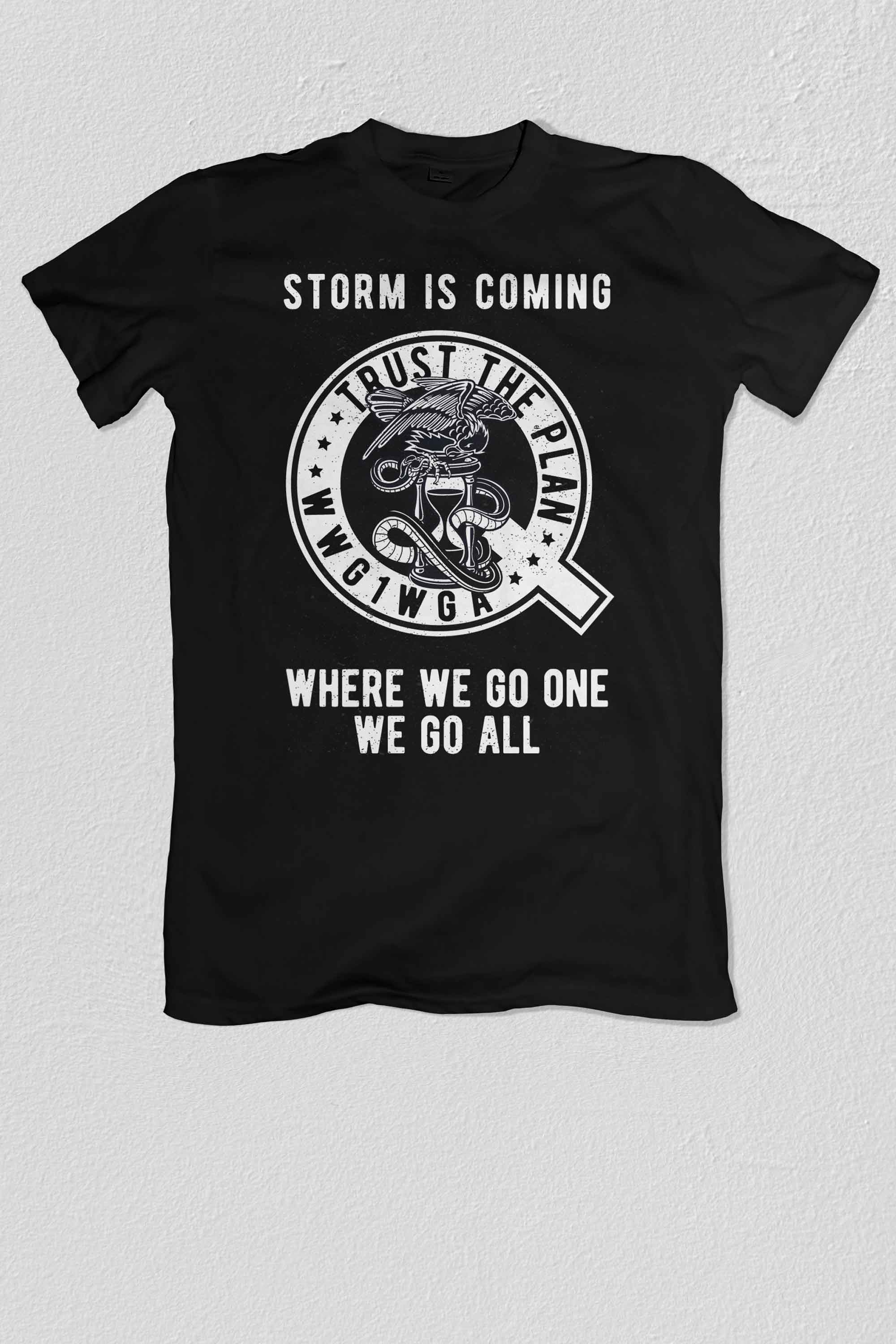 Qanon, Q, Storm is Coming T-shirt Hourglass - American Made